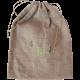 "Sac à aromates en lin 100% naturel avec broderie ""Ail"" vert anis et feuillage vert bouteille"