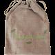 """Sac à aromates en lin 100% naturel avec broderie """"Bouquet garni"""" vert anis et feuillage vert bouteille"""