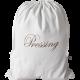 """sac à linge sale coton blanc avec inscription brodée """"Pressing"""""""