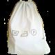 sac à linge sale coton blanc avec motifs brodés symboles de lavage