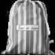 """sac à linge sale toile rayée grise et blanche avec inscription brodée """"Jour de lessive"""""""