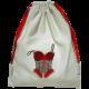 Sac à lingerie coton blanc motif brodé corset fil noir et rouge