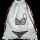 Sac à lingerie coton blanc motif brodé soutien-gorge/petite culotte fil noir et rose fuchsia
