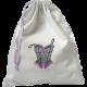 Sac à lingerie coton blanc motif brodé corset fil noir et mauve