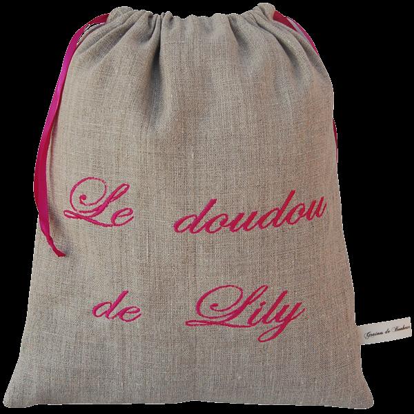 sac doudou personnalisable avec la couleur de tissu et le texte brod de votre choix. Black Bedroom Furniture Sets. Home Design Ideas
