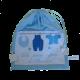 Pochon pour les petites affaires de bébé en coton bleu avec prénom brodé