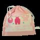 Pochon pour les petites affaires de bébé en coton rose avec prénom brodé