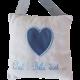 """Coussin de porte coton blanc avec coeur appliqué bleu et broderie """"Chut ! Bébé dort..."""""""