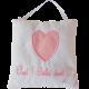 """Coussin de porte coton blanc avec coeur appliqué rose et broderie """"Chut ! Bébé dort..."""""""